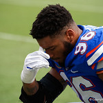 University of Florida Gators defensive lineman Cece Jefferson praying before kickoff the Florida Gators lose on homecoming to the  LSU Tigers 17-16 at Ben Hill Griffin Stadium in Gainesville, Florida. October 7th, 2017.  Gator Country photo by David Bowie.