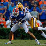 University of Florida Gators wide receiver Freddie Swain makes a catch during the second half as the Florida Gators lose on homecoming to the  LSU Tigers 17-16 at Ben Hill Griffin Stadium in Gainesville, Florida. October 7th, 2017.  Gator Country photo by David Bowie.