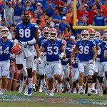 University of Florida Gators defensive lineman Luke Ancrum and the Gators take the field during pregame as the Florida Gators lose on homecoming to the  LSU Tigers 17-16 at Ben Hill Griffin Stadium in Gainesville, Florida. October 7th, 2017.  Gator Country photo by David Bowie.