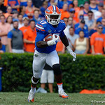 University of Florida Gators athlete Kadarius Toney rushes upfield during the first half as the Florida Gators lose on homecoming to the  LSU Tigers 17-16 at Ben Hill Griffin Stadium in Gainesville, Florida. October 7th, 2017.  Gator Country photo by David Bowie.