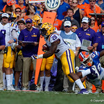 University of Florida Gators linebacker Kylan Johnson tackles LSU running back Darrel Williams during the first half as the Florida Gators lose on homecoming to the  LSU Tigers 17-16 at Ben Hill Griffin Stadium in Gainesville, Florida. October 7th, 2017.  Gator Country photo by David Bowie.