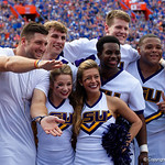 Tim Tebow poses with the LSU Tigers cheerleaders during the first half as the Florida Gators lose on homecoming to the  LSU Tigers 17-16 at Ben Hill Griffin Stadium in Gainesville, Florida. October 7th, 2017.  Gator Country photo by David Bowie.