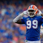 University of Florida Gators defensive lineman Jachai Polite motions to the crowd to get loud during the second half as the Florida Gators lose on homecoming to the  LSU Tigers 17-16 at Ben Hill Griffin Stadium in Gainesville, Florida. October 7th, 2017.  Gator Country photo by David Bowie.