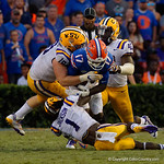 University of Florida Gators athlete Kadarius Toney uis tackled during the second half as the Florida Gators lose on homecoming to the  LSU Tigers 17-16 at Ben Hill Griffin Stadium in Gainesville, Florida. October 7th, 2017.  Gator Country photo by David Bowie.