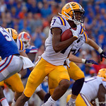 LSU wide receiver D.J. Chark sprints around the corner during the second half as the Florida Gators lose on homecoming to the  LSU Tigers 17-16 at Ben Hill Griffin Stadium in Gainesville, Florida. October 7th, 2017.  Gator Country photo by David Bowie.