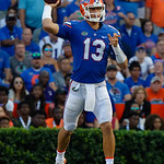 University of Florida Gators quarterback Feleipe Franks throwing during the second half as the Florida Gators lose on homecoming to the  LSU Tigers 17-16 at Ben Hill Griffin Stadium in Gainesville, Florida. October 7th, 2017.  Gator Country photo by David Bowie.