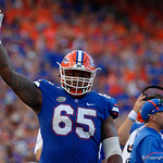 University of Florida Gators offensive lineman Jawaan Taylor during the second half as the Florida Gators lose on homecoming to the  LSU Tigers 17-16 at Ben Hill Griffin Stadium in Gainesville, Florida. October 7th, 2017.  Gator Country photo by David Bowie.