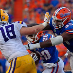 University of Florida Gators offensive lineman Jawaan Taylor throws a block for University of Florida Gators running back Malik Davis during the second half as the Florida Gators lose on homecoming to the  LSU Tigers 17-16 at Ben Hill Griffin Stadium in Gainesville, Florida. October 7th, 2017.  Gator Country photo by David Bowie.