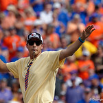 Former Florida Gators pitcher Alex Faedo performs as Mr. 2-Bits during pregame as the Florida Gators lose on homecoming to the  LSU Tigers 17-16 at Ben Hill Griffin Stadium in Gainesville, Florida. October 7th, 2017.  Gator Country photo by David Bowie.