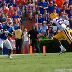 University of Florida Gators wide receiver Brandon Powell makes a catch during the first half as the Florida Gators lose on homecoming to the  LSU Tigers 17-16 at Ben Hill Griffin Stadium in Gainesville, Florida. October 7th, 2017.  Gator Country photo by David Bowie.