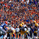 Gators fans cheer on during the first half as the Florida Gators lose on homecoming to the  LSU Tigers 17-16 at Ben Hill Griffin Stadium in Gainesville, Florida. October 7th, 2017.  Gator Country photo by David Bowie.