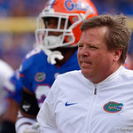 University of Florida Gators head coach Jim McElwain during pregame as the Florida Gators lose on homecoming to the  LSU Tigers 17-16 at Ben Hill Griffin Stadium in Gainesville, Florida. October 7th, 2017.  Gator Country photo by David Bowie.