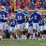 The Florida Gators take the field during pregame as the Florida Gators lose on homecoming to the  LSU Tigers 17-16 at Ben Hill Griffin Stadium in Gainesville, Florida. October 7th, 2017.  Gator Country photo by David Bowie.