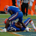 University of Florida Gators wide receiver Tyrie Cleveland makes an incredible 63 yard catch with no time left on the clock as the Florida Gators defeat tne Tennessee Volunteers 26-20 at Ben Hill Griffin Stadium in Gainesville, Florida. September 16th, 2017.  Gator Country photo by David Bowie.