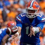 University of Florida Gators quarterback Feleipe Franks tosses the ball to University of Florida Gators running back Lamical Perine during the first half as the Florida Gators defeat tne Tennessee Volunteers 26-20 at Ben Hill Griffin Stadium in Gainesville, Florida. September 16th, 2017.  Gator Country photo by David Bowie.