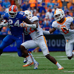 University of Florida Gators running back Mark Thompson rushing during the first half as the Florida Gators defeat tne Tennessee Volunteers 26-20 at Ben Hill Griffin Stadium in Gainesville, Florida. September 16th, 2017.  Gator Country photo by David Bowie.