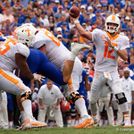Tennessee Volunteers quarterback Quinten Dormady throwing an interception to University of Florida Gators defensive back Duke Dawson during the first half as the Florida Gators defeat tne Tennessee Volunteers 26-20 at Ben Hill Griffin Stadium in Gainesville, Florida. September 16th, 2017.  Gator Country photo by David Bowie.