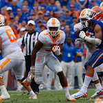 Tennessee Volunteers running back Ty Chandler rushing during the first half as the Florida Gators defeat tne Tennessee Volunteers 26-20 at Ben Hill Griffin Stadium in Gainesville, Florida. September 16th, 2017.  Gator Country photo by David Bowie.