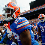 University of Florida Gators running back Lamical Perine and the Gators take the field the Florida Gators defeat tne Tennessee Volunteers 26-20 at Ben Hill Griffin Stadium in Gainesville, Florida. September 16th, 2017.  Gator Country photo by David Bowie.