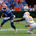 University of Florida Gators athlete Kadarius Toney cuts up field during the first half as the Florida Gators defeat tne Tennessee Volunteers 26-20 at Ben Hill Griffin Stadium in Gainesville, Florida. September 16th, 2017.  Gator Country photo by David Bowie.