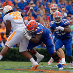 University of Florida Gators running back Lamical Perine gets a block in front of him by University of Florida Gators offensive lineman T.J. McCoy during the first half as the Florida Gators defeat tne Tennessee Volunteers 26-20 at Ben Hill Griffin Stadium in Gainesville, Florida. September 16th, 2017.  Gator Country photo by David Bowie.