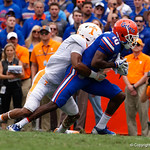 University of Florida Gators wide receiver Josh Hammond with a reception during the first half as the Florida Gators defeat tne Tennessee Volunteers 26-20 at Ben Hill Griffin Stadium in Gainesville, Florida. September 16th, 2017.  Gator Country photo by David Bowie.