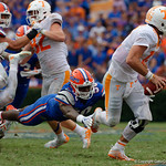 University of Florida Gators linebacker Jeremiah Moon lays out in a attempt to sack Tennessee Volunteers quarterback Quinten Dormady  during the second half as the Florida Gators defeat tne Tennessee Volunteers 26-20 at Ben Hill Griffin Stadium in Gainesville, Florida. September 16th, 2017.  Gator Country photo by David Bowie.