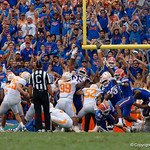 The Gators attempt to block a field goal attempt by Tennessee Volunteers kicker Aaron Medley during the second half as the Florida Gators defeat tne Tennessee Volunteers 26-20 at Ben Hill Griffin Stadium in Gainesville, Florida. September 16th, 2017.  Gator Country photo by David Bowie.