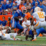 University of Florida Gators athlete Kadarius Toney attempts to juke out Tennessee defensive back Nigel Warrior during the second half as the Florida Gators defeat tne Tennessee Volunteers 26-20 at Ben Hill Griffin Stadium in Gainesville, Florida. September 16th, 2017.  Gator Country photo by David Bowie.
