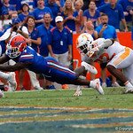 University of Florida Gators wide receiver Brandon Powell dives into the endzone for the Gators first offensive touchdown of the season, during the second half as the Florida Gators defeat tne Tennessee Volunteers 26-20 at Ben Hill Griffin Stadium in Gainesville, Florida. September 16th, 2017.  Gator Country photo by David Bowie.
