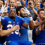 University of Florida Gators defensive back Jeawon Taylor and the Gators celebrate as the Florida Gators defeat the Tennessee Volunteers 26-20 at Ben Hill Griffin Stadium in Gainesville, Florida. September 16th, 2017.  Gator Country photo by David Bowie.