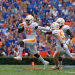 Tennessee Volunteers defensive lineman Darrell Taylor celebrates after an interception bu the Volunteers during the first half as the Florida Gators defeat tne Tennessee Volunteers 26-20 at Ben Hill Griffin Stadium in Gainesville, Florida. September 16th, 2017.  Gator Country photo by David Bowie.