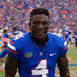 University of Florida Gators wide receiver Brandon Powell and the Gators celebrate as the Florida Gators defeat the Tennessee Volunteers 26-20 at Ben Hill Griffin Stadium in Gainesville, Florida. September 16th, 2017.  Gator Country photo by David Bowie.