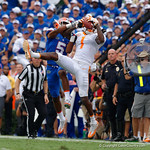 Tennessee wide receiver Marquez Callaway leaps over University of Florida Gators cornerback CJ Henderson tp make a catch during the first half as the Florida Gators defeat tne Tennessee Volunteers 26-20 at Ben Hill Griffin Stadium in Gainesville, Florida. September 16th, 2017.  Gator Country photo by David Bowie.