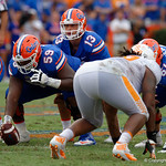 University of Florida Gators quarterback Feleipe Franks gets set under center University of Florida Gators offensive lineman T.J. McCoy during the second half as the Florida Gators defeat tne Tennessee Volunteers 26-20 at Ben Hill Griffin Stadium in Gainesville, Florida. September 16th, 2017.  Gator Country photo by David Bowie.