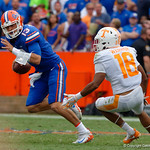 University of Florida Gators quarterback Feleipe Franks scrambling during the second half as the Florida Gators defeat tne Tennessee Volunteers 26-20 at Ben Hill Griffin Stadium in Gainesville, Florida. September 16th, 2017.  Gator Country photo by David Bowie.