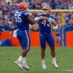 University of Florida Gators linebacker Christian Garcia and University of Florida Gators defensive lineman Kyree Campbell celebrate during the second half as the Florida Gators defeat tne Tennessee Volunteers 26-20 at Ben Hill Griffin Stadium in Gainesville, Florida. September 16th, 2017.  Gator Country photo by David Bowie.