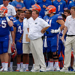 University of Florida Gators head coach Jim McElwain watches on from the sideline during the second half as the Florida Gators defeat tne Tennessee Volunteers 26-20 at Ben Hill Griffin Stadium in Gainesville, Florida. September 16th, 2017.  Gator Country photo by David Bowie.