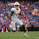 Tennessee Volunteers wide receiver Marquez Callaway sprints downfield during the second half as the Florida Gators defeat tne Tennessee Volunteers 26-20 at Ben Hill Griffin Stadium in Gainesville, Florida. September 16th, 2017.  Gator Country photo by David Bowie.