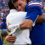 University of Florida Gators quarterback Feleipe Franks and University of Florida Gators Defensive Coordinator Randy Shannon and the Gators celebrate as the Florida Gators defeat the Tennessee Volunteers 26-20 at Ben Hill Griffin Stadium in Gainesville, Florida. September 16th, 2017.  Gator Country photo by David Bowie.