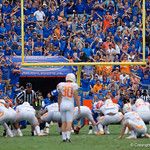 Gator fans try to distract Tennessee kicker Brent Cimaglia during the first half as the Florida Gators defeat tne Tennessee Volunteers 26-20 at Ben Hill Griffin Stadium in Gainesville, Florida. September 16th, 2017.  Gator Country photo by David Bowie.