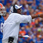 University of Florida Gators wide receivers coach Kerry Dixon II calling out to his players during the first half as the Florida Gators defeat tne Tennessee Volunteers 26-20 at Ben Hill Griffin Stadium in Gainesville, Florida. September 16th, 2017.  Gator Country photo by David Bowie.
