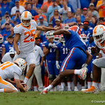 Tennessee Volunteers kicker Aaron Medley hits a field goal attempt during the second half as the Florida Gators defeat tne Tennessee Volunteers 26-20 at Ben Hill Griffin Stadium in Gainesville, Florida. September 16th, 2017.  Gator Country photo by David Bowie.