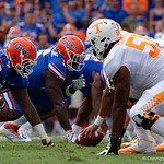University of Florida Gators defensive lineman Khairi Clark and the defensive line gets set for a snap during the first half as the Florida Gators defeat tne Tennessee Volunteers 26-20 at Ben Hill Griffin Stadium in Gainesville, Florida. September 16th, 2017.  Gator Country photo by David Bowie.