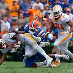University of Florida Gators linebacker Rayshad Jackson and University of Florida Gators defensive lineman Cece Jefferson combine for the tackle on Tennessee Voliunteers running back John Kelly during the first half as the Florida Gators defeat tne Tennessee Volunteers 26-20 at Ben Hill Griffin Stadium in Gainesville, Florida. September 16th, 2017.  Gator Country photo by David Bowie.