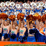 The Florida Gator Gatorettes cheer on the Gators during the first half as the Florida Gators defeat tne Tennessee Volunteers 26-20 at Ben Hill Griffin Stadium in Gainesville, Florida. September 16th, 2017.  Gator Country photo by David Bowie.