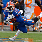University of Florida Gators athlete Kadarius Toney lays out attempting a diving catch in the endzone but is unable to hold on to it when he hits the ground during the second half as the Florida Gators defeat tne Tennessee Volunteers 26-20 at Ben Hill Griffin Stadium in Gainesville, Florida. September 16th, 2017.  Gator Country photo by David Bowie.
