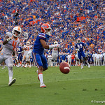 University of Florida Gators defensive back C.J. McWilliams defending Volunteers running back John Kelly as the ball hits the ground on a thrid and goal late in the fourth quarter as the Florida Gators defeat tne Tennessee Volunteers 26-20 at Ben Hill Griffin Stadium in Gainesville, Florida. September 16th, 2017.  Gator Country photo by David Bowie.