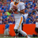 Tennessee Volunteers quarterback Quinten Dormady drops back and looks downfield during the first half as the Florida Gators defeat tne Tennessee Volunteers 26-20 at Ben Hill Griffin Stadium in Gainesville, Florida. September 16th, 2017.  Gator Country photo by David Bowie.