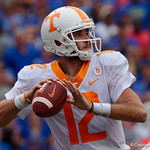 Tennessee Volunteers quarterback Quinten Dormady throwing during the first half as the Florida Gators defeat tne Tennessee Volunteers 26-20 at Ben Hill Griffin Stadium in Gainesville, Florida. September 16th, 2017.  Gator Country photo by David Bowie.